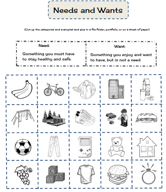 wants and needs worksheet Termolak – Wants and Needs Worksheets